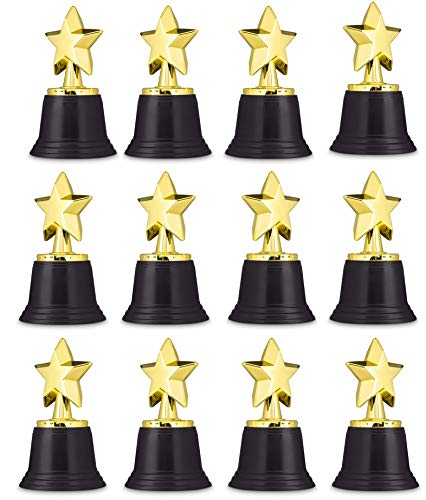"""Neliblu Star Gold Award Trophies 4.5"""" Gold Star Trophy for Awards, Winners, Academy Awards and Hollywood Parties Bulk Pack of 12"""