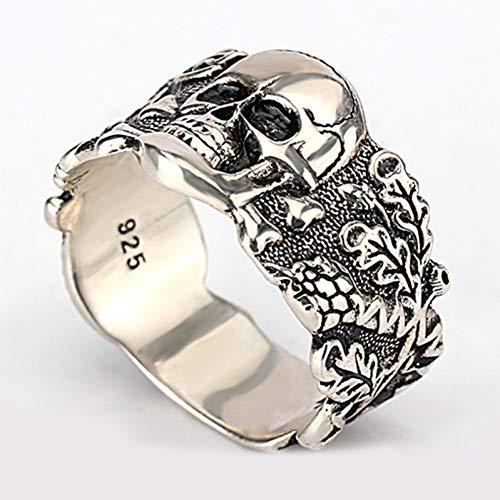 XINYIU Totenkopf-Ring für Herren, 925 Sterlingsilber, Skelett, Vintage-Stil, Punk, Modeschmuck, Hochzeitsringe