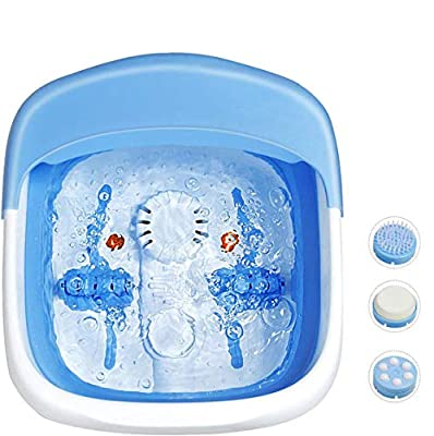 Giantex Foot Spa Bath Motorized Massager, Collapsible 3 in 1 Function Electric Feet Tub with Heat, Red Light, Air Bubble, Foldable Foot Soaking Tub, Massage Rollers, Feet Stress Relief