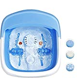 Giantex Heated Foot Spa Bath Massager Collapsible Design, 3 in 1 Footbath Tub with Rollers Pumice Stone Scrub Brush, Easy Storage, Foldable Foot Soaking Tub for Feet Stress Relief