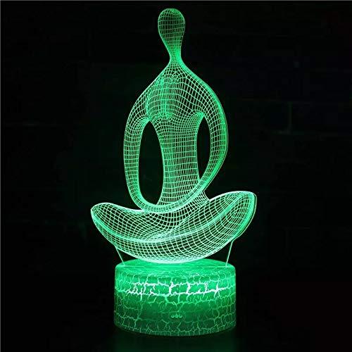 Lámpara de acrílico multicolor con base de grietas de yoga imaginativa lámpara de mesa pequeña creativa luz de noche led lámpara visual 3D dormitorio, lámpara de decoración de habitación