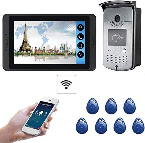 ZGYQGOO Night Vision 7 Inch HD, Door Viewer Night Vision Video Doorbell, 1024 * 600 Phone Video Door, Timbre inalámbrico Dos vías Impermeable a Prueba Lluvia, Plateado