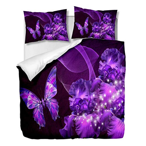 OliveSleep Purple Butterfly and Irises Duvet Cover Sets Decor 3 Pieces Bedding Set with 2 Pillow Shams Gift (multicolor 9, Single)