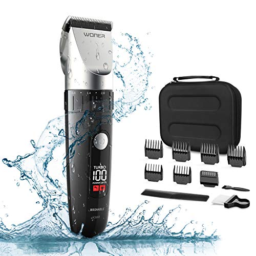 WONER HC-826B Tondeuse Cheveux Barbe Homme Impermable Professionnelle, Moteur Turbo 2 Vitesses, Lame en Cramique Auto Affte, cran LED et Batterie Rechargeable 2000mAh Sans Fil