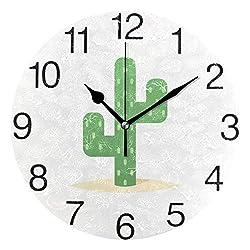 senya Desert Cactus Round Wall Clock, Silent Non Ticking Oil Painting Decorative for Home Office School Clock Art