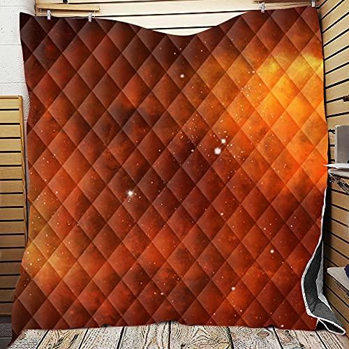 Chickwin Tagesdecke Bettüberwurf Gesteppt, Mikrofaser Galaxis Drucken Tagesdecke Schlafzimmer Steppdecke Decke Überwurf Wohnzimmer Sofaüberwurf für Einzelbett Doppelbett (150x200cm,Orange)