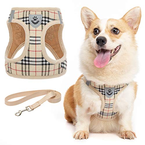 Zonadeals Soft Mesh Plaid Puppy Harness - Small Dog Harness and Leash Set, Adjustable & Comfortable Padded Reflective Vest for Puppies and Small Breeds Dogs Walking