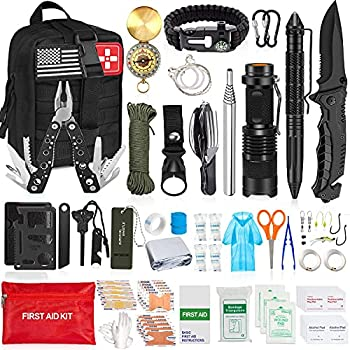 AOKIWO 200Pcs Emergency Survival Kit Professional Survival Gear Tool First Aid Kit SOS Emergency Survival Kit with Molle Pouch for Camping Adventures  Black …