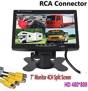 ZhanHongXiang 7 inch HD 4 Channels Quad Split Backup Monitor Screen Display RCA Video Inputs for Bus Truck Caravan Car Rear View Camera Kit 12V-24V