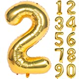 40 Inch Gold Digit Helium Foil Birthday Party Balloons (Gold 2)