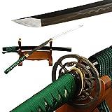 YJ COOL Green Ito & Sageo Unokubitsukuri Japanese Samurai Katana Sword Clay Tempered Folded Steel Full Tang Iron Tsuba