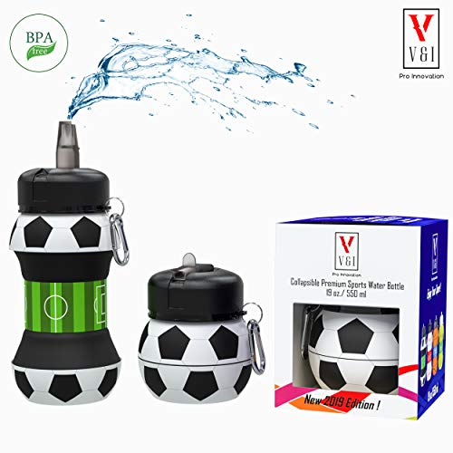 Kids Sports Water Bottle Collapsible Basketball Baseball Tennis Soccer Ball Shaped Design Reusable 19 oz Drinking Cup Leak Proof Shockproof Squeezable Compact Travel Jug