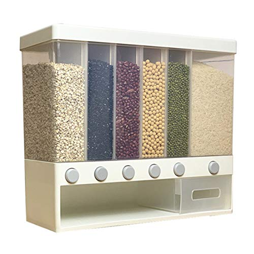 Wall Mounted Cereal Dispenser Rice Bucket Dispenser Dry Food Dispenser Container Automatic Rice Dispenser Kitchen Sealed Grain Container Rice Storage Box