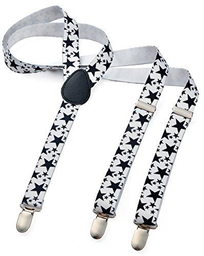 Herren Damen Long Hosenträger Y Form Style 3er Clips elastisch Schmal Unifarbe und Bunt mit verschiedenen Motiv, Mehrfarbig (Weiss Stern),Gr. One Size