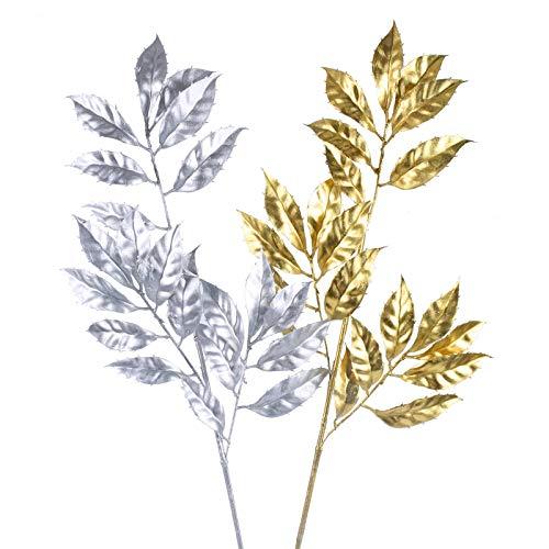 NAHUAA 2PCS Künstliche Pflanze Weinachten Deko Künstliche Zweige Deko für Vase Zuhause Garten Gang Balkon Party Weihnachtsbaum Deko Golden Silber