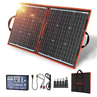 DOKIO 80w Portable Folding Solar Panel Kit Lightweight(4.6lb,22x21inch) Monocrystalline(HIGH Efficiency) with Regulator (2 USB Output) to Charge 12v Batteries (Vented AGM Gel) RV Camper Boat Pump