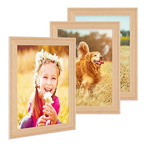 PHOTOLINI 3er Set Landhaus-Bilderrahmen 21x30 cm/DIN A4 Holz Natur Massivholz mit Glasscheibe und Zubehör/Fotorahmen