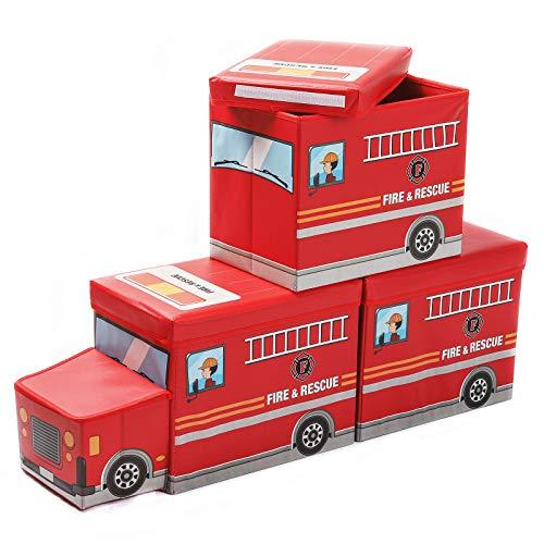 Yorbay 3er Set Kinder Aufbewahrungsbox Spielzeugkiste mit deckel hocker Sitztruhe Sitzbank mit stauraum für Kinderzimmer, Feuerwehrauto