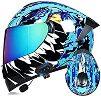 フルフェイスオートバイBluetoothヘルメット、ECE承認バイクモペットストリートバイクレーシングクラッシュヘルメットグラフィック付き K,L