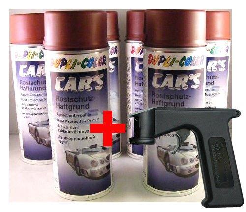 Dupli Color Car´s Rostschutz-Haftgrund rotbraun 6x 400ml Dosen + Spraymaster (wie Spritzpistole) Cars
