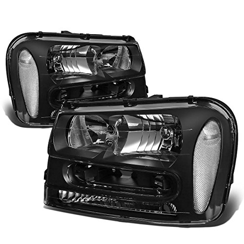Pair of Black Housing Clear Corner Headlight Assembly Lamps Kit Replacement for Chevy Trailblazer EXT 02-09