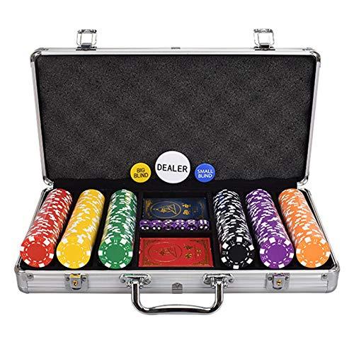 CHIPS Juego, Casino de Fichas de Póquer, Fichas con Estuche Portátil de Aleación de Aluminio, Equipado con 2 Póquer para la Cena de Juegos de Mesa