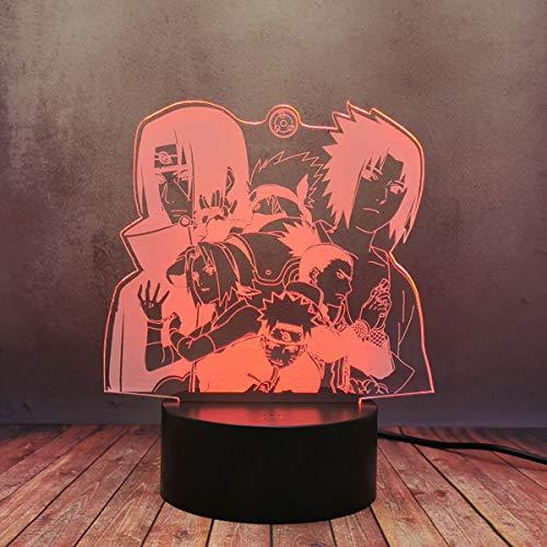 Coole Uzumaki Uchiha Sasuke Kakashi Itachi Nara Hinata Hyuga Figur Comic LED Lampe Smart USB Touch 16 Farben Fernbedienung Nachtlicht Jungen Kinder Schlafzimmer Dekor Weihnachtsgeschenke