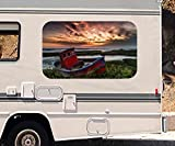 3D Autoaufkleber Boot Küste Sonnenuntergang Meer Wohnmobil Auto KFZ Fenster Motorhaube Sticker Aufkleber 21A608, Größe 3D sticker:ca. 161cmx 96cm
