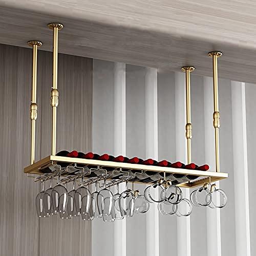 Estantes colgantes para copas de vino Estantes de vino colgantes europeos, estante de decoración de techo de altura ajustable para almacenamiento Botella de cristal de vino, gran capacidad de copa de
