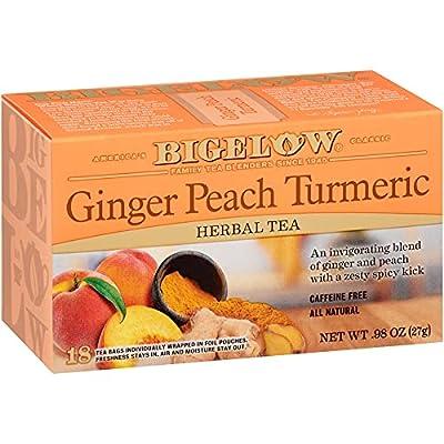 Bigelow Tea Ginger Peach Turmeric Herbal Tea Bags, 18 Count Box (Pack of 6) Caffeine-Free Herbal Tea, 108 Tea Bags Total by R. C. Bigelow, Inc