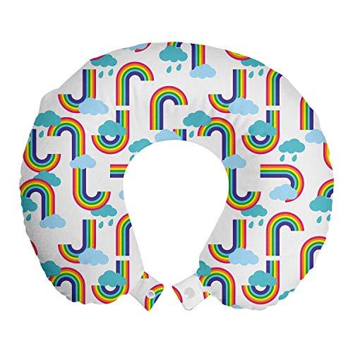 ABAKUHAUS Dibujos Animados Cojín de Viaje para Soporte de Cuello, Arco Iris y el patrón de Las Nubes, Cómoda y Práctica Funda Removible Lavable, 30x30 cm, Rayas Blancas y Multicolor