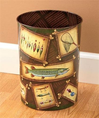 ROUND METAL WASTEBASKET WITH ANTIQUE FISHING LURES by River Edge