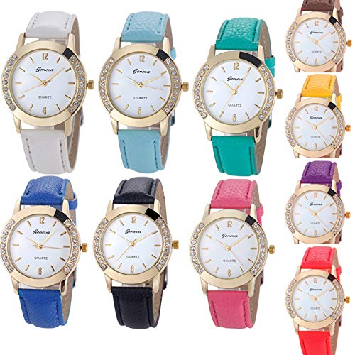 Yunanwa 10 Pack Wholesale Women Watches Leather Rhinestone Inlaid Quartz Jelly Dress Wristwatch (10pcs-Leather Brand)