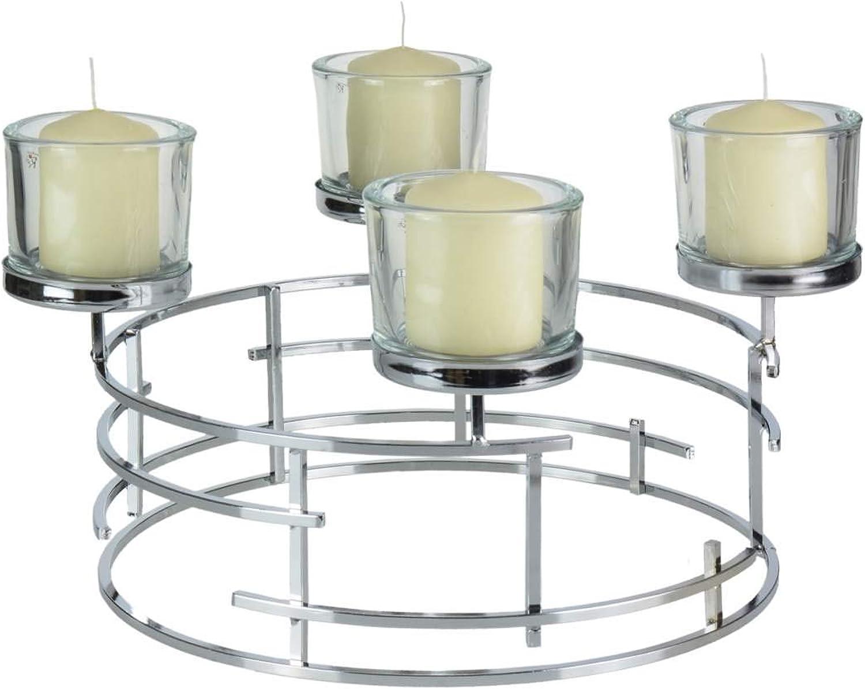 OUM-SET Formano Adventskranz Metall Silber 40cm mit 4 Glsern und 4 Kerzen Kerzenhalter Advent Kerzenstnder modern