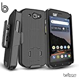 BELTRON CAT S48c Case with Clip, Heavy Duty Belt Clip with Swivel Clip for CAT S48c (Sprint Verizon Unlocked S48c) Features: Secure Fit & Built-in Kickstand (Durable, Reliable & Lightweight) - Black
