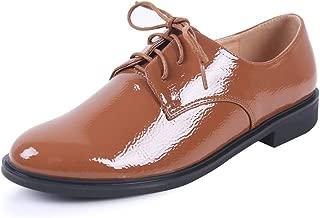 sorliva Women's Lace Up Oxfords Patent Leather Brogue Wingtip Flats Vintage Dress Shoes