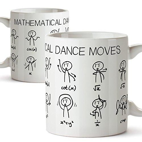 MUGFFINS Tazas de Desayuno Original para Regalar a matemáticos - Regalo para Amantes de Las matemáticas - Mathematics Dance Moves - Cerámica 350 ml