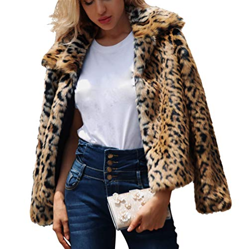 JEELINBORE Women Leopard Print Faux Fur Coat Long Sleeve Jacket Autumn Winter Warm Short Outwear (Leopard, CN 3XL)