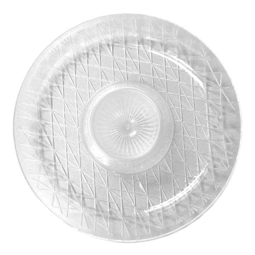 """Party Essentials N3026 Heavy Duty Diamond Cut Plastic Round Chip and Dip Tray, 16"""" Diameter, Crystal Clear (Case of 6)"""
