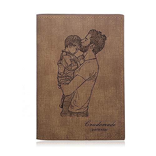 Brieftasche Foto Personalisierte Herren Leder Geldbörsen mit Namen Gravierte Jungen Karte Brieftasche für Vatertag Weihnachten Familie Freund (Braun 3)