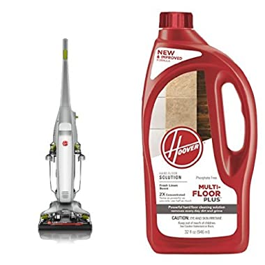 HOOVER FloorMate Deluxe Hard Floor Cleaner, FH40160PC - Corded and Multi-FLOORPLUS 2X Concentrated 32 Oz Hard Floor Cleaner Solution - AH30425 Bundle