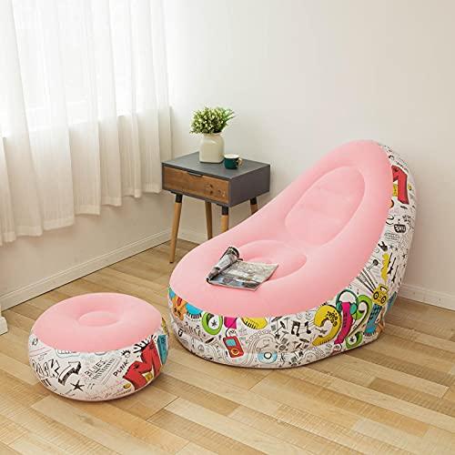 Gonfiabile pigro divano reclinabile divano letto per esterni con pedale comodo affollamento singolo divano sedia rivestimento in pile newpink