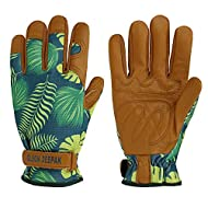 OLSON DEEPAK Womens Gardening Gloves with Grain Cowhide Leather for Yard Work