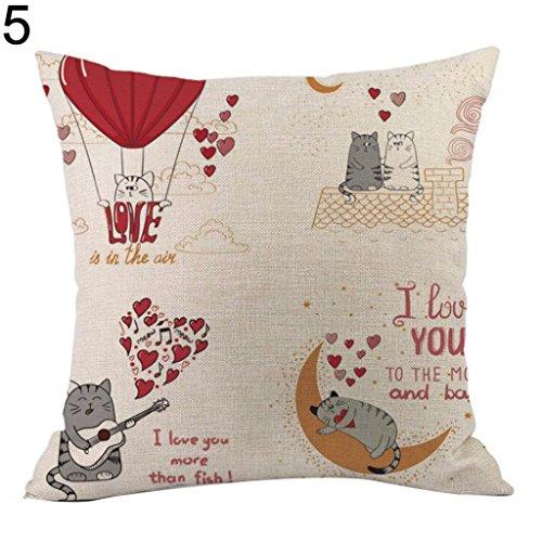 good01 I Love You Lettres Imprimé Taie d'oreiller de Saint-Valentin Cadeau Housse de Coussin, Lin, 5#, Taille M
