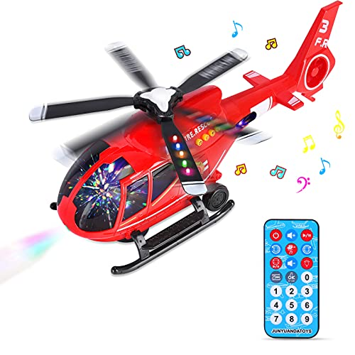 Aerei Giocattolo Bambini, Telecomandato Giocattolo dell'aeroplano Aeroplano di Giocattoli Educativi per Veicoli, Elicottero Giocattolo con luci a LED e musica Ragazzo Ragazze Regalo (rosso)