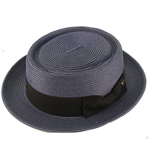 Men's Everyday Light Summer Ribbon Porkpie Boater Derby Fedora Sun Hat S/M Navy