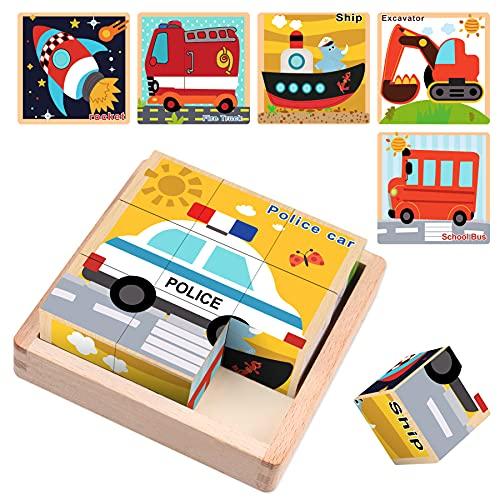 Sunarrive Puzzle de madera – puzzle de madera 3D – puzzle cubos de madera – juguete educativo – Montessori – puzzle infantil – Cubo apilable para niños a partir de 2 3 años (vehículo)