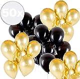 TK Gruppe Timo Klingler 50x Luftballons Mix Gold & schwarz - 100 % Bio - für Deko & Party an Silvester & Neujahr für Helium & Luft
