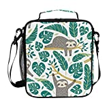 Girls Sloth Lunch Bags Palm Tree Cool Large Insulated Lunch Box Tote Bag Cold Thermal Freezable Shoulder Strap...
