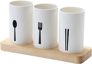UPKOCH porta utensilios cubertería utensilio tendedero tendedero con base de madera para barra de cocina encimera de almacenamiento organizar tenedores cuchillos cucharas